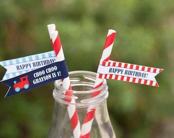 Train Straw Flags - Train Food Picks - Train Birthday Printables- PDF File