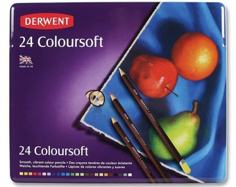 Derwent Drawing Set of 24 Colored Pencils; Thick, Creamy 4mm Leads; Drawing, Blending, Shading, Rendering, Book Coloring Colorsoft Metal Tin