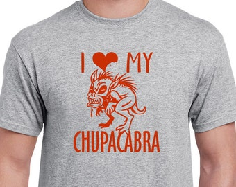 I Love My Chupacabra T-shirt. Cuddly furry creature tee. Dog lover's shirt. Grey or natural tshirt screen printed with red ink.