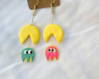 Pacman and ghost earrings
