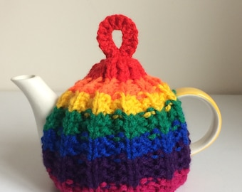 Hand Knitted Small Rainbow Rib Tea Cosy *FREE UK POSTAGE*