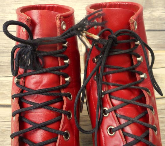 Lace Up Cowboy Leather Vintage Size 5 D Justin Red Boots Youth Kids Junior Ropers TRcqa4w