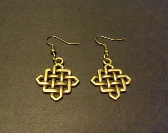 small Celtic knot earrings bronze calhalou in stock