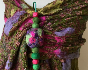 Large felted wool shawlpin Brooch  - green pink purple jade  - ready to ship - Quirky lagenlook gift for her