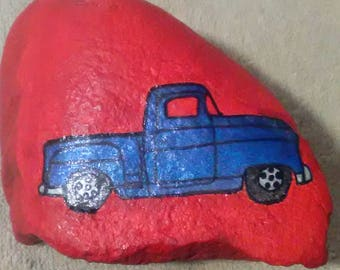 Hand painted rock: Blue truck