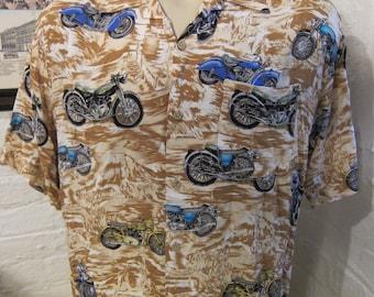 Size XL (50) ** 1990s Motorcycle Rayon Shirt