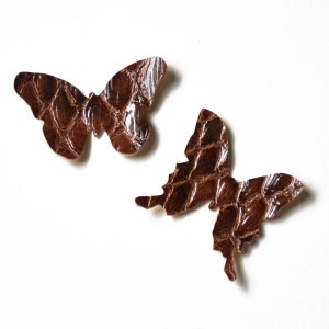 Butterfly Die Cut Brown Patent Croc Faux Leather Vinyl Pleather, Vegan Leather for Jewelry Making, Scrapbooking, Applique, Gift Tags, & More
