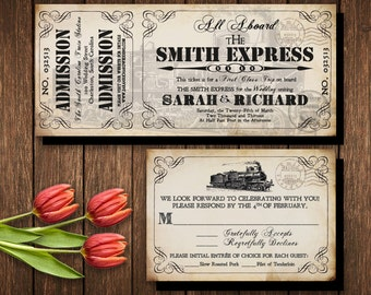Train ticket invite etsy train ticket invitation set invitation printable for steampunk wedding at train station industrial wedding stopboris Images