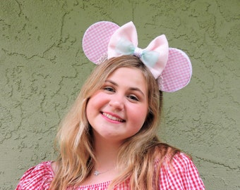 Toy Story Little Bo Peep Inspired Mickey Ears/Pink Gingham Mickey Ears/ Flower and Garden Festival/ Floral Mickey Ears
