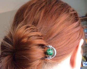 Green Stone Hair Stick - Celtic Metal Medieval Jasper Hair Pin Prong- Aluminum Silver  Hammered Pin Bun Holder Accessory
