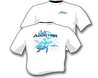 Salt Addiction Sea Turtle t shirt,fishing t shirt,ocean,flats,life,deep sea,scuba,snorkeling