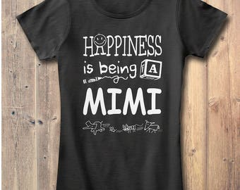 Happiness is Being a Mimi Gift T-shirt Grandma Gift