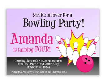 Bowling Invitation - Purple and Hot Pink, Bowling Pins and Bowling Ball Personalized Birthday Party Invite - a Digital Printable File