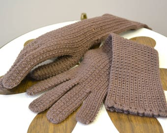 1940s Brown Wool Knit Gloves