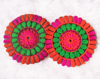 Mandala Embroidered Jacket Patch, Kutchi Applique, Pink, Green and Orange Embroidered Applique, Denim Jacket Applique, Reversible Applique
