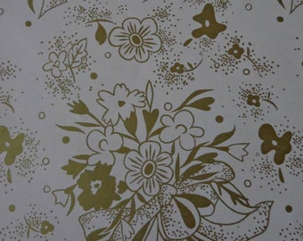 Vintage Gift Wrap Wedding 1970s Wrapping Paper--One Sheet--Gold Wedding Bouquets