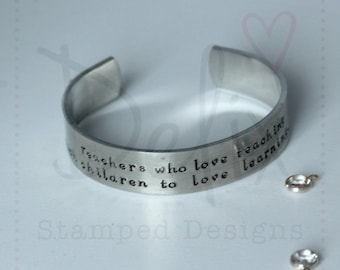 Hand stamped thick cuff, bangle, bracelet