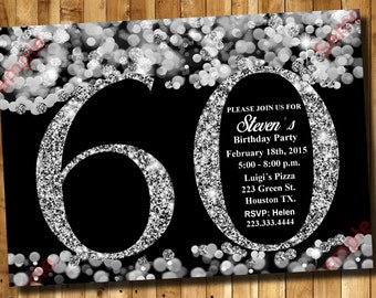 Glitter invitations etsy 60th birthday invitation silver glitter invitation adult invitation elegant birthday invitation filmwisefo Choice Image