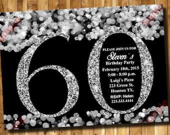 60th Birthday Invitation - Silver Glitter Invitation - Adult Invitation - Elegant Birthday Invitation