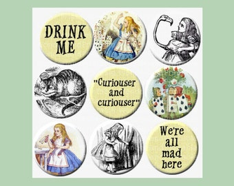 "Alice in Wonderland Digital Collage Sheets - 1 "" circles - Arthur Rackham, John Tenniel, Alice in Wonderland quotes, We're all mad here,etc"