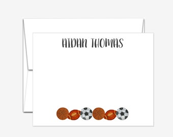 Personalized Stationery - Sports - Flat Note Cards