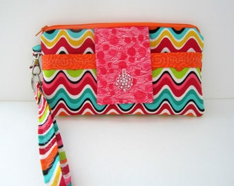 Wristlet Wallet, Wristlet Purse, Bright Wristlet, Gift for Friend, Pink and Orange Wristlet, Wristlet, Striped Wallet, Striped Wristlet