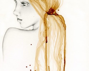 Gold Coffee Staining Painting Mixed Media Art Print of Original Artwork Drawing of a Girl Women Art Evocative Portrait of a Girl Gold Hair