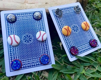 Baseball Earrings, Softball Earrings, Faux Druzy Earrings, Red White and Blue Earrings, Sports Earrings