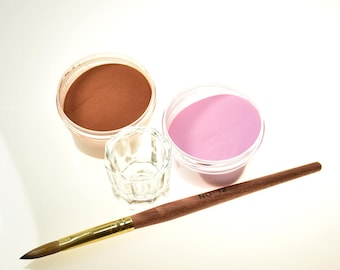 Nail Kit Acrylic Color Powder, Glass Cup, Kolinsky Acrylic Nail Brush # 12