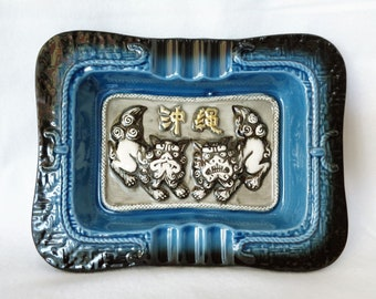 1175 Ashtray with Shisa lion/dog ornament,Japanese Okinawa ceramic Ashtray with pair Shisa lions/dogs design,made in Japan