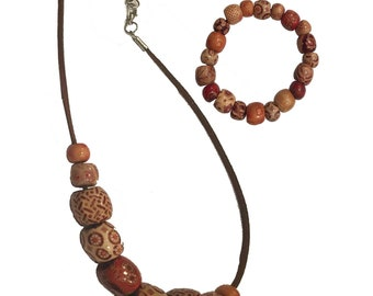 Wooden Bead Choker & Bracelet