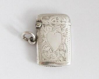 Petite Vintage British Vesta Case Sterling Match Safe Pill Box Pendant