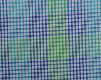 Cotton Plaid Fabric, Checked Fabric, Cotton Blend, Blue Green Plaid, Sewing Fabric - 1 1/3 Yard - CFL2223