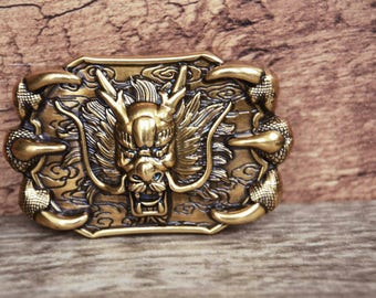 Mens Belt Buckle,Solid Metal Alloy Made,3D buckle, Dragon Monster Buckle,Retro Gold Color