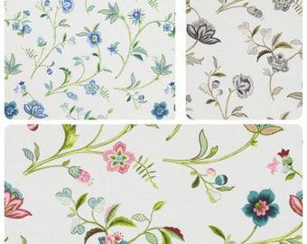 """55"""" Wide Cotton Blend Botanical Whimsical Ivory Drapery Fabric Floral Pattern Aqua Green Lime Teal Coral Navy Blue Charcoal Gray Brown IL11"""