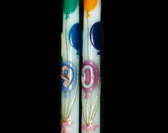 Birthday, beeswax motif taper candles (made to order)