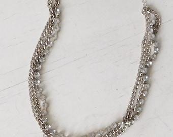 "Rhinestone Chain Choker Antiqued Silver tone Necklace Multi Strand Layered Twisted Boho Bling Bohemian 3 Strands Link Gunmetal 17"" to 18 1/2"