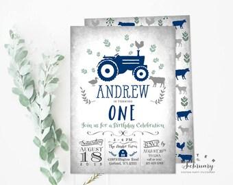Navy Blue Tractor Birthday Invitation Farm Birthday Invitation Boy Blue Barn Birthday Invitation // Printable No.783KidsNavy