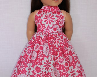 18 inch doll clothes, 2 piece set!  floral print halter dress with matching belt, Upbeat Petites