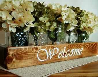 WELCOME Mason jar box , rustic Farmhouse decor, Farmhouse decor, Farmhouse kitchen, wooden mason jar box, home decor, wedding centerpiece