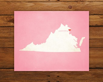 Customized Virginia 8 x 10 State Art Print, State Map, Heart, Silhouette, Aged-Look Print