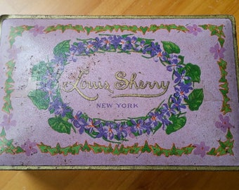 Vintage Louis Sherry 1/2 lb tin container / Canco New York / Pink Purple