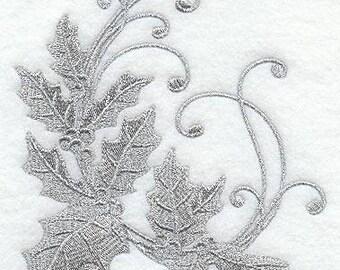 Christmas  Towel  - Holly Towel - Berries Towel - Embroidered Towel - Flour Sack Towel - Hand Towel - Bath Towel - Fingertip - Apron