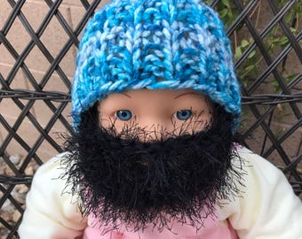 READY TO SHIP Baby Bearded Beanie - Blue White Hat with Fuzzy Black Beard 0-6 months Lumberjack