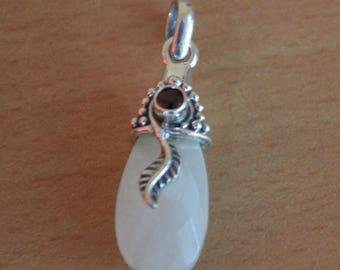 Moonstone ANd Garnet Pendant,925 sterling silver Ring,Natural Red garnet Boho Necklace,leaf designer pendant,Drop Moonstone Handmade Jewelry