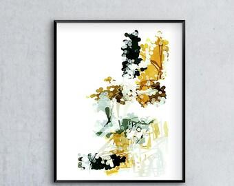 Abstract Watercolor, Abstract Art Print, Watercolor Wall Art, Mustard Yellow, Charcoal Gray, 12x16, 16x20, 18x24, 24x32, Neutral Art Print