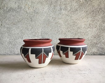 Pair of Acoma Pottery Wall Pocket Vases Half Pots, Native American Indian Pottery, Southwestern Decor, Native American Art, Under 25 Gifts
