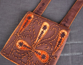 VTG Italian Ornate Bohemian Godess Cross Body Messenger Bag Brown & Orange Embroidery Hippy Chic