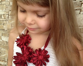 Toddler baby necklace Flowers bib necklace Burgundy wrap necklace Nature eco friendly necklace Little girls necklace for kids Gift for girl