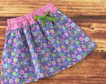 Girls Floral Skirt, Girls Purple Skirt, Purple Flowered Skirt, Baby Skirt, Toddler Girl, Girls Spring Skirt, Summer Skirt, Little Girl Skirt